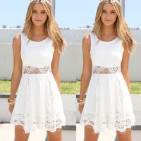 Summer Dress 2017 Sexy Women Casual Sleeveless Beach Short Dress Solid White Mini Lace Dress Vestidos