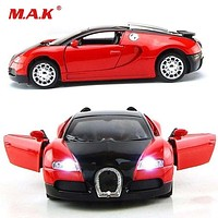 Bugatti Veyron Diecast Car Model With Sound and Light Collection Car Toys Vehicle Gift For Children