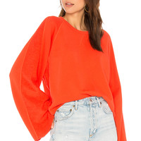 7 For All Mankind Flare Sleeve Crop Sweatshirt in Poppy