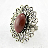 Vintage Burgundy Red Cocktail Ring, Dark Red Glass Cabochon Ring, Brass Filigree Ring, Adjustable Statement Ring, 1960s Vintage Jewelry