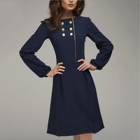 Winter Zippers Double Breasted Long Sleeve Women's Fashion Korean Slim One Piece Dress [4919141508]