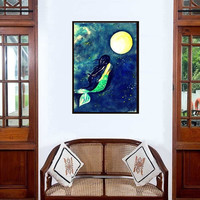 Moon Mermaid painting   Blue Decor wall art   Siren bedroom illustration   Women figurative abstract tail tropical Sea room men gift decal