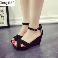 2016 new summer fashion high heel wedge waterproof platform peep-toe buckles Roman sandals for women's shoes