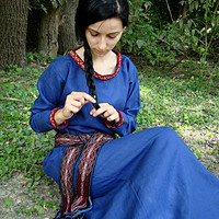 Early Medieval linen underdress gown, tablet selvage, dress for the summer. 100% linen. Viking costume, reconstruction