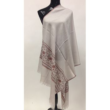 Kashmiri Shawl/Store with Stones - Off White