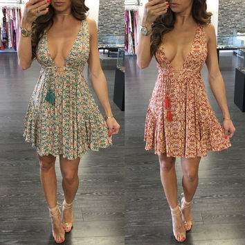 Floral Boho Sexy One Piece Dress [11179058191]