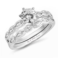 A Flawless 1.8CT Round Cut Russian Lab Diamond Engagement Ring Bridal Set
