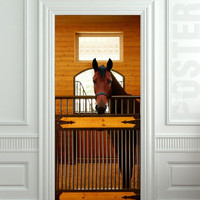 """GIANT Door Wall STICKER decole horse stole stable country poster 31x79""""(80x200 cm)"""