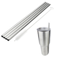 New Arrival 4 Pcs Metal Stainless Steel Drinking Straight Straws For Yeti 30oz Tumbler With 1pc Cleaning Cleaner Brush