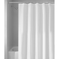 All-Purpose Mildew-Free Water-Repellent Fabric Shower Curtain, White