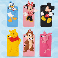 Fashion 3D cute cartoon mickey minnie mouse Donald Duck rubber silicone case protective cover For iphone 6 4.7 inch 5.5 plus