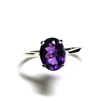 "Amethyst, amethyst ring,engagement ring, purple ring, birthstone ring, solitaire ring,  s 7 1/4    ""Purple Smoke"""