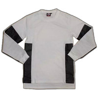 Extended Long Sleeve Leather and Cotton Shirt