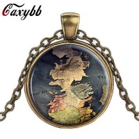 The Game Of Thrones Map Jewelry Westeros Map Pendant Movie Game Of Thrones Necklace A Song of Ice and Fire Jewelry Vintage