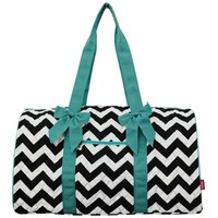 Grey White Chevron Quilted Ribbon Accent Gym Travel Dance Cheer Duffle Bag