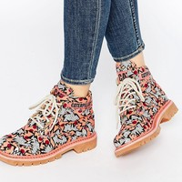 Cat Ridge Walala Beet Red Lace Up Ankle Boots