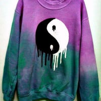 Custom Color Dripping YinYang Sweatshirt by ShopHeroineCouture