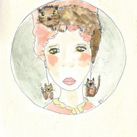 Cat print - woman watercolor - A miaow thought