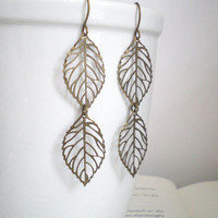 Fall Leaves. Dangle Earrings. Fall Fashion. Brass Earrings. Leaf Jewelry