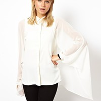 ASOS Blouse with Dramatic Cape Sleeve