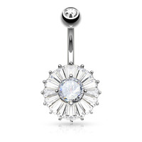 Cubic Zirconia Princess Cut Belly Ring Navel Rings Surgical Steel Body Jewelry