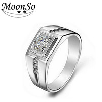 Moonso Trendy Platinum Plated Engagement Wedding Bands For Men T0207