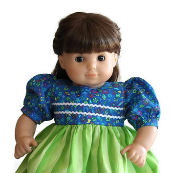 Baby Doll Dress Royal Blue Lime Green Fuchsia Easter Birthday Party Summer Spring Bitty Twin 14 to 16 inch Clothes --US Shipping Included