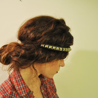 Upcycled Metal Stud and Black Leather Elastic Headband by SewRed