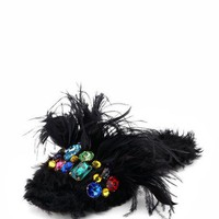 Miu Miu Jeweled Furry Flat Mule, Black