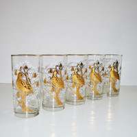 Vintage Libbey Partridge Pear Tree Glasses Tumblers Set of 5 Hi Ball Glasses Gold Barware Glasses Holiday Christmas Glasses