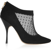 Lucy Choi London - Padstow mesh-paneled suede ankle boots