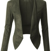 LE3NO Womens Lightweight Faux Suede Open Front Cropped Blazer Jacket