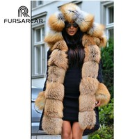 FURSARCAR Fashion Winter Real Fur Coat Women Luxury Female Fur Parka 2018 New Casual Parka With Fox Fur Collar And Cuff