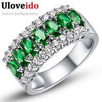 Valentine's Day Gift Womens White Gold Plated Red Wedding Large Colored Ring Red Green Zircon Sets Ringen Jewelry Ulove J501