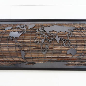 World map artwork made of old barnwood and natural black steel