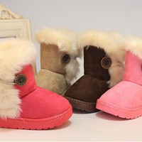 Free Shipping ! Size:21-35 Fashion New Girls Shoes Fur Winter Girls Boy Thicken Shoes Snow Boots