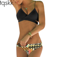 Sexy Wrap Bikini Top Criss Cross Bandage Swimsuit 2016 Hot Sell Style Swim Suit Swimwear Bathing Suits Push Up Bikini Brazilian