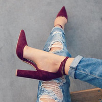 Basic style retro fashion high heels pointed toe