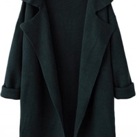Plain Notched Lapel Collar Open Front Knitted Midi Coat