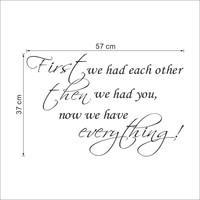 "Modern PVC Characters ""we had each other"" Wall Stickers Home Decor Decoration Art Waterproof Removable 37*57CM SM6"