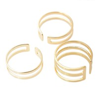 Cut Out Double Line Adjustable Ring Set of 3