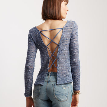 Sheer Long Sleeve Crisscross Back Knit Top