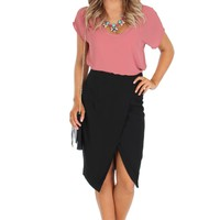 Wrap Midi Skirt Black