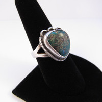 Vintage Sterling Silver Green Turquoise Ring, Native American Ring, Vintage Southwestern Ring, Vintage Green Turquoise Ring Size 7.75~8
