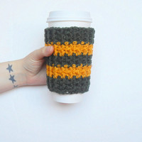 Wisconsin Team Coffee Cozy in Dark Green and Yellow, ready to ship.