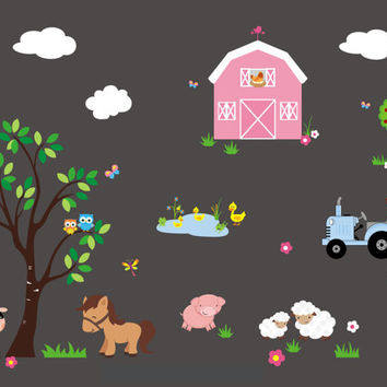 "Farm & Country Animals Children's Nursery Wall Decals Nature Barn Sheep-Reusable High Quality Material-Wall Art-Large Layout: 95"" x 140"""