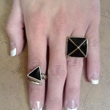 Black and Bronze Pyramid Statement Ring Set-Geometric Ring-Bold-Glam-Avant Garde