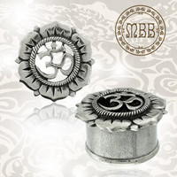 "Antiqued Silver Brass Om Symbol Flower Tunnels Tribal Ornate Plugs 6g, 4g, 2g, 0g, 00g, 1/2"", 9/16"", 5/8"" Ear Gauges D. Flared Plug Gauge"