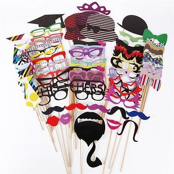 76pcs DIY Photo Booth Props Moustaches/Glasses/Bowtie/Hat style Wedding Hen Party Night Games Take Photo Accessories 2016 New