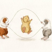 Cute Guinea Pigs Jumping Rope Art Print by WhenGuineaPigsFly